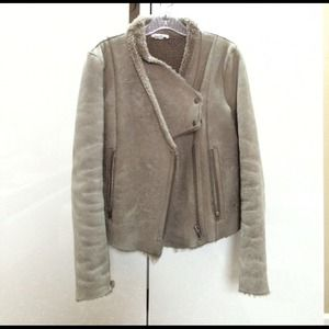 Helmut Lang distress shearling jacket