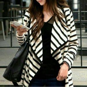 Sweaters - DONATED!  B&W Stripe Cardigan