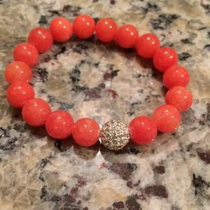 Coral and crystal pave bead bracelet