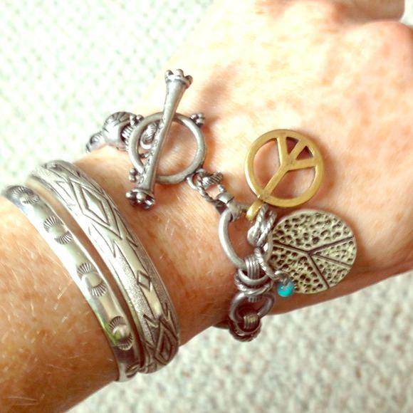 lucky brand jewelry peace charm toggle bracelet poshmark. Black Bedroom Furniture Sets. Home Design Ideas