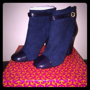 Tory Burch Suede Navy Booties