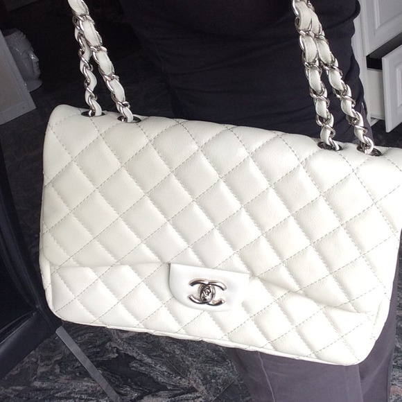 cce7fb4d1584 CHANEL Bags | Sold Jumbo White Classic Flap Bag | Poshmark