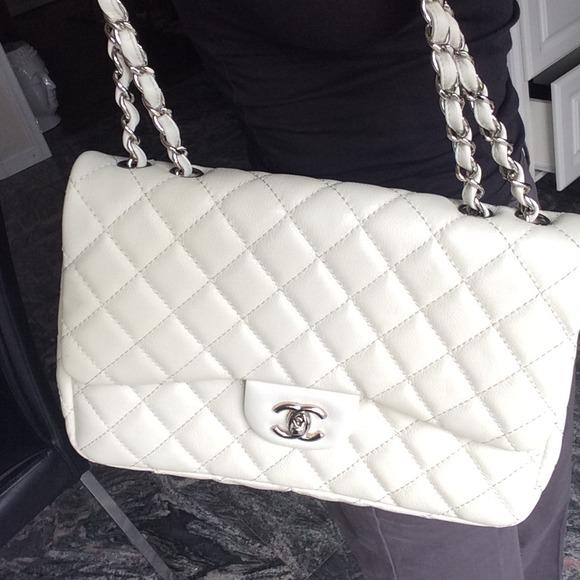 7b28cd83cb8e CHANEL Bags | Sold Jumbo White Classic Flap Bag | Poshmark