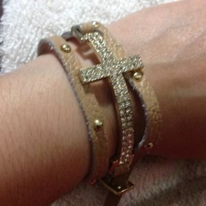 Rhinestones cross leather wrap bracelet