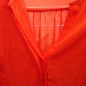 H&M Tops - Orange Chiffon Button Down!