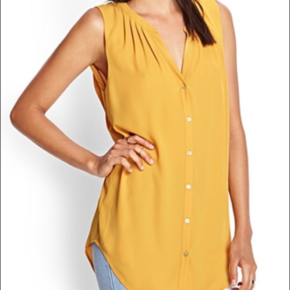 5a289bd5766f0 Forever 21 Tops - F21 Lightweight Mustard Sleeveless Tunic Top