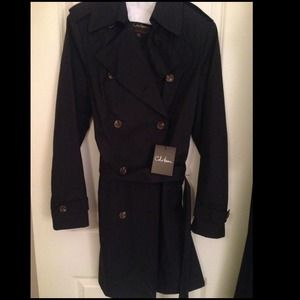 NWT Classic Black Cole Haan Trench Coat