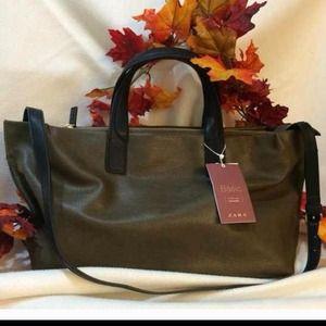 NWT ZARA Handbag in olive green