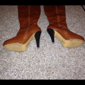 56 shoes knee high camel color heel boots from