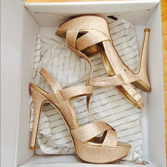 a9b089d38467 ALDO Shoes | Golden Sparkle High Heels | Poshmark