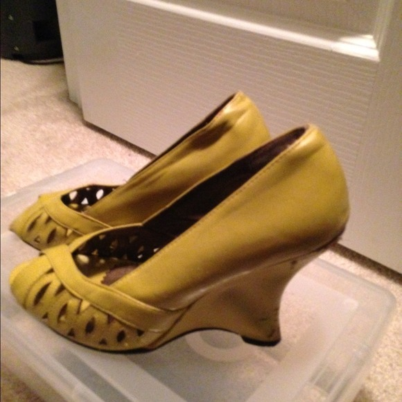 87 shoes mustard yellow wedge heel sandal from