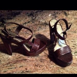 Brand new in box Bebe chocolate Tate heels