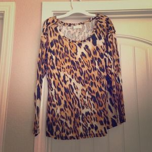 Zara Linen T-Shirt with Cheetah Print Sz L