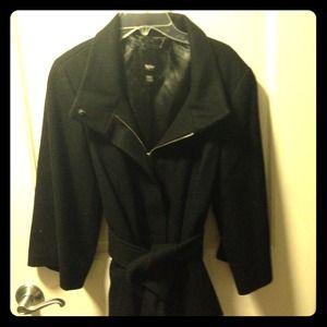 Kimono sleeve wool coat