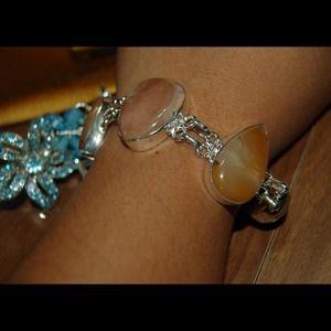 Agate & Jasper 925 Sterling Silver Bracelet