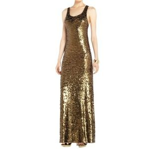 """BCBG Dusty Olive """"Allure"""" Sequin Racerback Gown"""