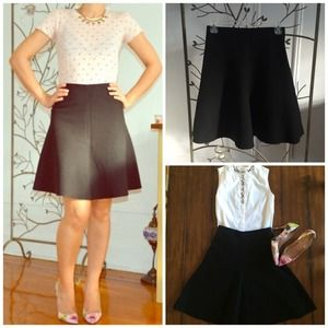 Zara A-Line Black Skirt