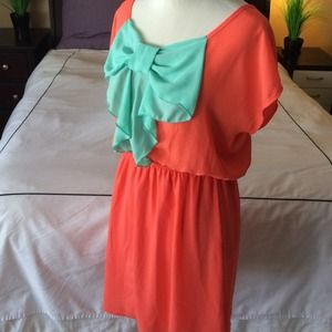 Adorable bow dress, pink and green , M/L