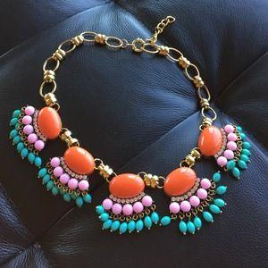 Statement necklace fan fringe orange pink Aqua