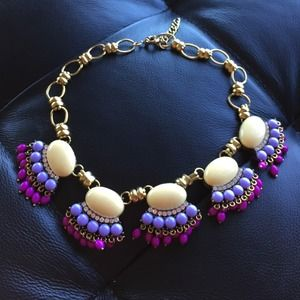 Statement necklace fan fringe yellow lilac magenta