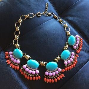 Statement necklace fan fringe Aqua pink orange