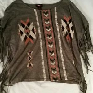 Gray tribal top