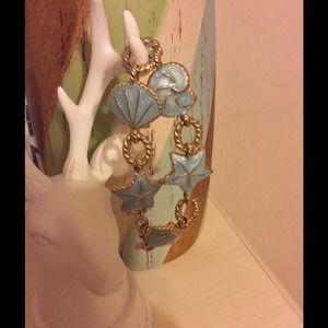 Shell blue enamel bracelet link