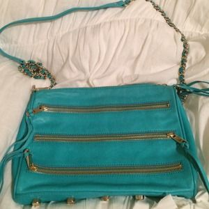 Rebecca Minkoff blue leather zipper crossbody bag