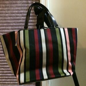Kate Spade striped canvas tote bag
