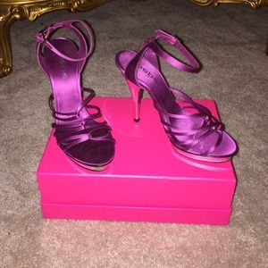 BEBE NEW Plum Purple,  Satin mirrored-heels!  Sz 7