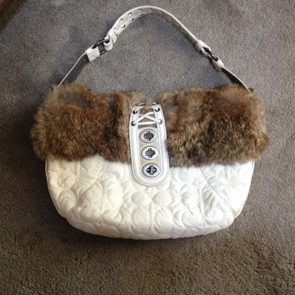 Quilted Coach purse with rabbit fur