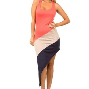 Dresses & Skirts - FLASH SALE Asymmetric color block tank dress