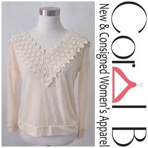 Tops - Crochet Lace Long Sleeve Top