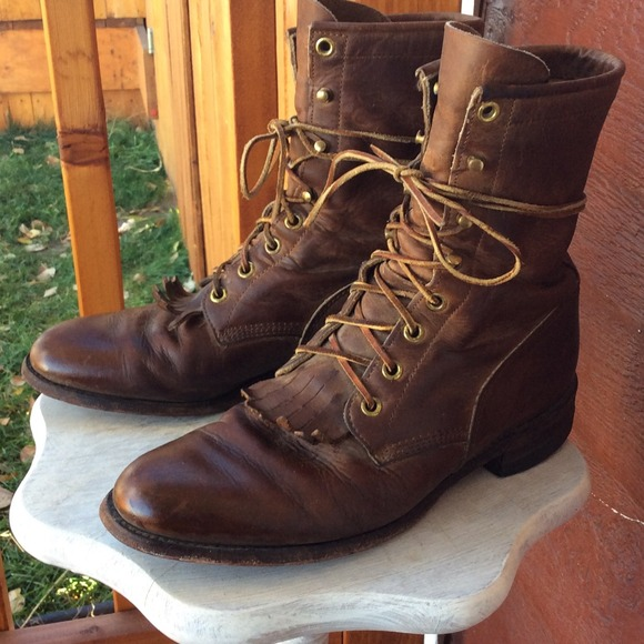 84% off Boots - Justin Lace up cowboy boots from Alyssa's closet ...