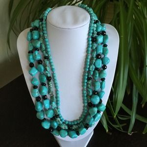 Jewelry - 🎉HP 10/25🎉NWOT 4Strand Turquoise Onyx Necklace
