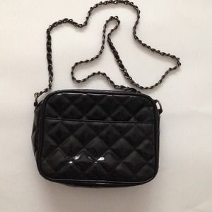 Handbags - Black Patent Quilted Shoulder Bag