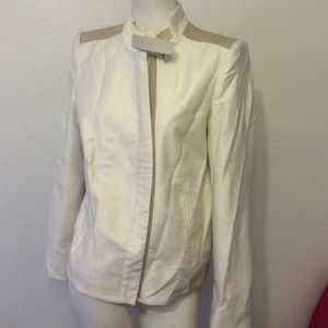 Helmut Lang leather/ cotton asymmetrical jacket