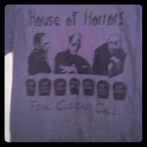 Tops - Iconic House of Horror T-shirt. Black on grey.