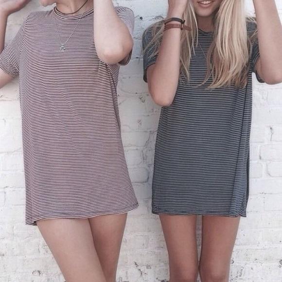 eb83bdfe8703 Brandy Melville Dresses | Luana Navy Stripe Oversize Tshirt | Poshmark