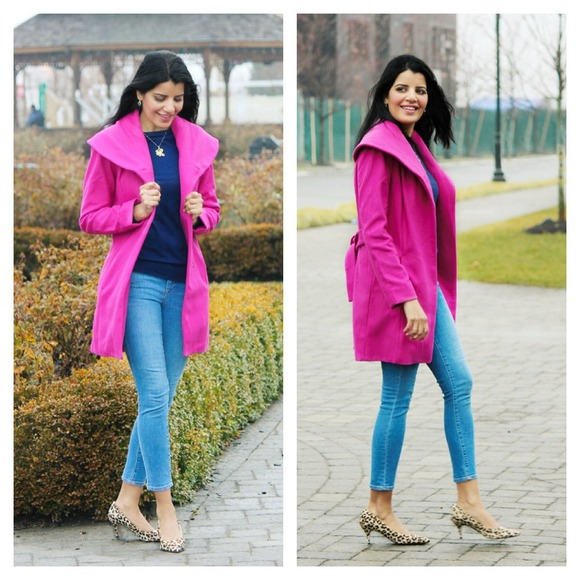 Merona ( Target) - Super gorgeous hot pink wool coat with wrap ...