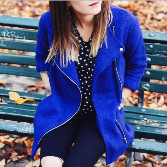 🔝HP ASOS Electric Blue Zip Coat
