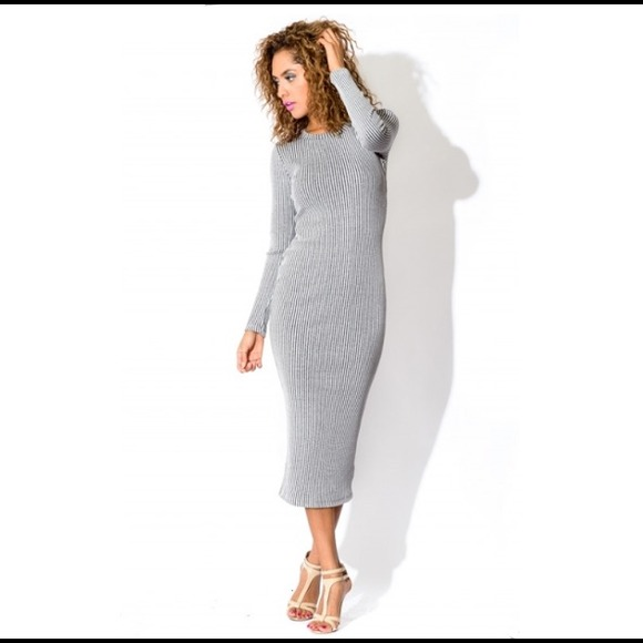 81% off Dresses & Skirts - Medium knitted ribbed silver grey midi ...