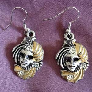 Jewelry - Silver Masquerade Mask Jester Drop Dangle Earrings