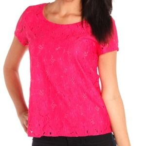 Hot pink lace blouse