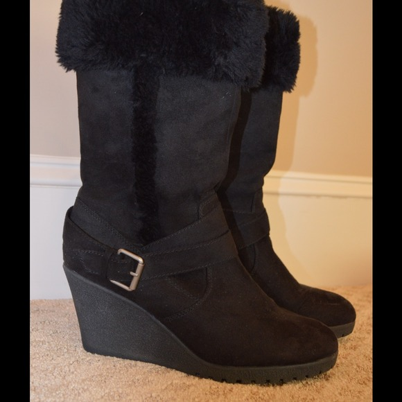 American Eagle By Payless Shoes Black Wedge Boot With