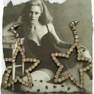 Jewelry - Vintage rhinestone star earrings