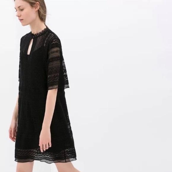 Black lace tunic dress