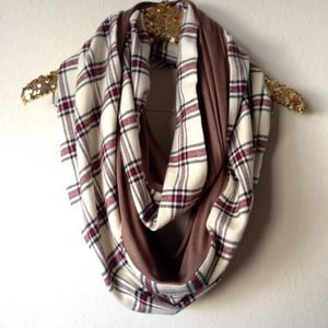 Infinity scarf in cream plaid
