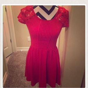 Red lace dress with pictures