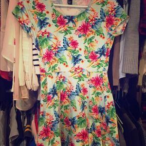 Forever21 tropical floral skater dress